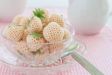 Pineberry or Hula Berry a hybrid strawberry with a pineapple flavor Stock Photo