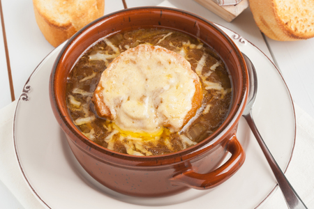 gruyere: French onion soup with grilled gruyere cheese croutons