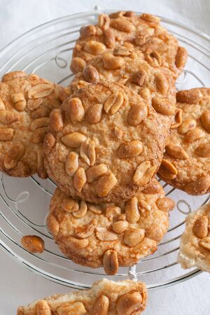 trivet: Salted peanut cookies made with sugar flour and crunchy peanuts
