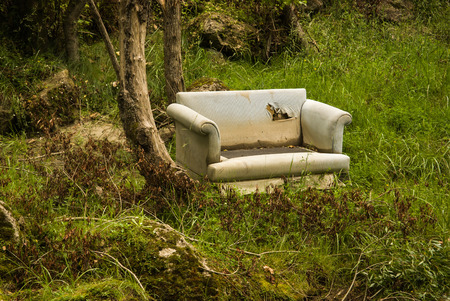 tipping: Old sofa in a forest an example of fly tipping or illegal dumping