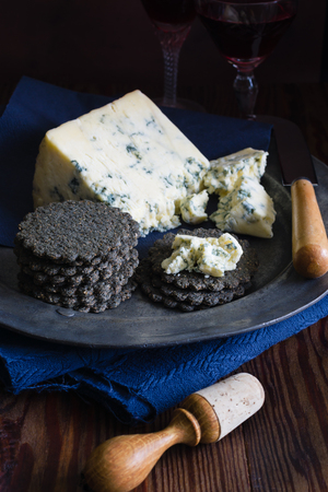 stilton: Charcoal biscuits and Stilton cheese