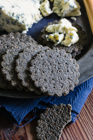 stilton: Charcoal biscuits and mature English Stilton Cheese