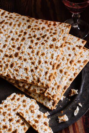 matzah: Matzah crackers traditionally eaten during the Jewish Passover holiday