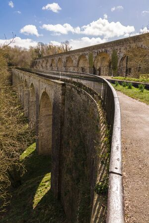 Chirk Aqueduct carrying the Llangollen branch of the Shropshire Union canal Stock Photo
