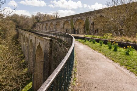 Chirk Aqueduct carrying the Llangollen branch of the Shropshire Union canal Stock fotó