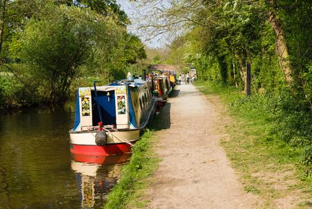 Barges moored up on the Llangollen branch of the Shropshire Union canal