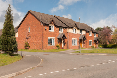 Typical mix of detached and semi detached modern residential housing development in the United Kingdom Stock Photo