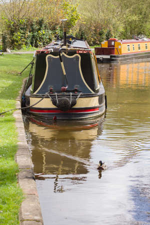 Barges moored up on the Shropshire Union canal in England
