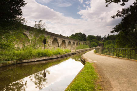 Chirk aqueduct and railway viaduct in North Wales