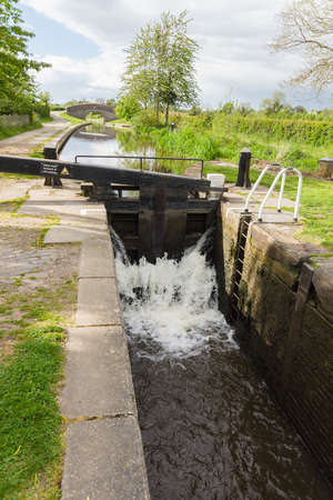 Canal lock gates on the Shropshire Union canal in England UK Stock Photo