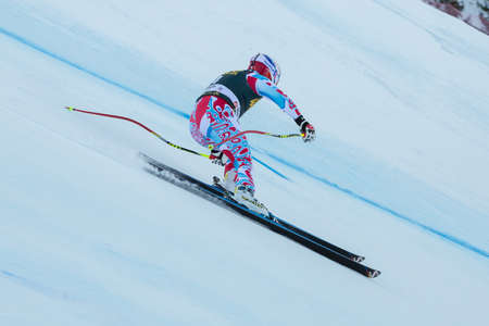 fis: VAL GARDENA, ITALY - DECEMBER 21   POISSON David  FRA  races down the Saslong competing in the Audi FIS Alpine Skiing World Cup MEN Editorial