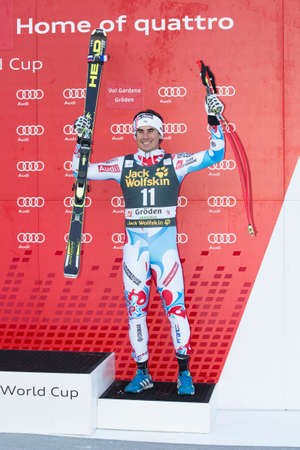 fis: VAL GARDENA, ITALY 21 December 2013  CLAREY Johan  FRA  takes 3rd place during the Audi FIS Alpine Ski World Cup Men's  DOWNHILL