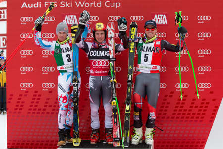 ted: Alta Badia, ITALY 22 December 2013  HIRSCHER Marcel  AUT  winner, 2nd PINTURAULT Alexis  FRA  and LIGETY Ted  USA  3rd in the Audi FIS Alpine Skiing World Cup  MEN Editorial