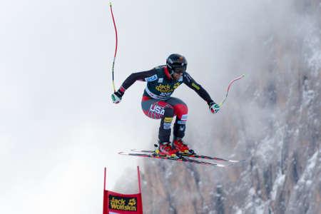 men s boot: VAL GARDENA - GROEDEN, ITALY 21 GANONGTravis  USA  competing in the Audi FIS Alpine Skiing World Cup MEN Editorial