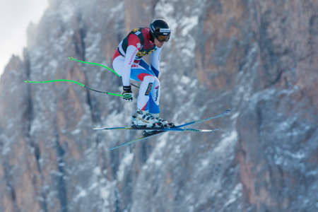 men s boot: VAL GARDENA, ITALY - DECEMBER 21  VILETTA Sandro  SUI races down the Saslong competing in the Audi FIS Alpine Skiing World Cup MEN Editorial