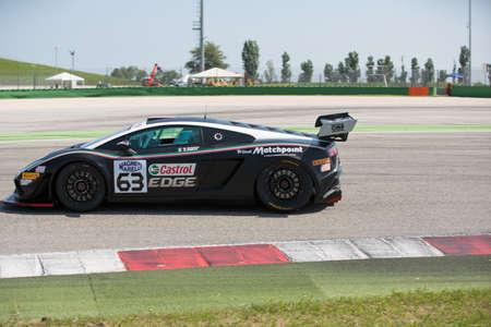 gallardo: MISANO ADRIATICO, Rimini, ITALY - May 10:  A LAMBORGHINI GALLARDO GT3 of Imperiale Racing team, driven By AMICI Andrea (ITA) and BARRI Giacomo (ITA),  the , C.I. Gran Turismo car racing on May 10, 2014 in Misano Adriatico, Rimini, Italy. Editorial