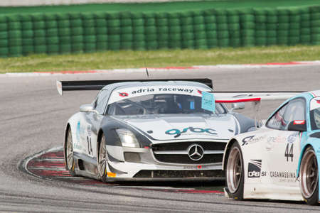 gt3: MISANO ADRIATICO, Rimini, ITALY - May 10:  A MERCEDES SLM AGM GT3 of Sport and You team, driven By MORA Francisco (POR),  the , C.I. Gran Turismo car racing on May 10, 2014 in Misano Adriatico, Rimini, Italy. Editorial