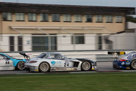 gt3: MISANO ADRIATICO, Rimini, ITALY - May 10   A MERCEDES SLM AGM GT3 of Sport and You team, driven By MORA Francisco  POR ,  the , C I  Gran Turismo car racing on May 10, 2014 in Misano Adriatico, Rimini, Italy