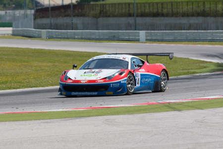 alvaro: MISANO ADRIATICO, Rimini, ITALY - May 10:  A FERRARI 458 ITALIA of OMBRA RACING team, driven By FRASSINETI Alex (ITA) and BARBA Alvaro (ESP),  the  C.I. Gran Turismo car racing on May 10, 2014 in Misano Adriatico, Rimini, Italy. Editorial