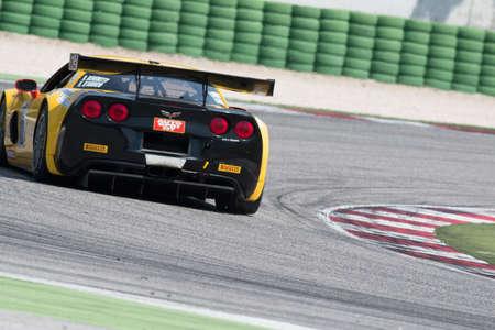 adriatico: MISANO ADRIATICO, Rimini, ITALY - May 10:  A Corvette Z06 GT3 of RC MOTORSPORT team, driven By BENEDETTI Roberto (ITA) and DAMICO Kevin (ITA),  the C.I. Gran Turismo car racing on May 10, 2014 in Misano Adriatico, Rimini, Italy.