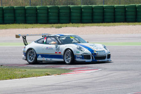 carrera: MISANO ADRIATICO, Rimini, ITALY - May 10   A Porsche 911 GT3 Cup of Antonelli Motorsport team, driven By NEGRA PIETRO  ITA , the ,Porsche Carrera Cup car racing on May 10, 2014 in Misano Adriatico, Rimini, Italy