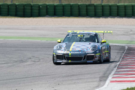 carrera: MISANO ADRIATICO, Rimini, ITALY - May 10:  A Porsche 911 GT3 Cup of Antonelli Motorsport team, driven By NEGRA PIETRO (ITA), the ,Porsche Carrera Cup car racing on May 10, 2014 in Misano Adriatico, Rimini, Italy.