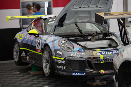 adriatico: MISANO ADRIATICO, Rimini, ITALY - May 10:  A Porsche 911 GT3 Cup of Antonelli Motorsport team, driven By NEGRA PIETRO (ITA), the ,Porsche Carrera Cup car racing on May 10, 2014 in Misano Adriatico, Rimini, Italy.