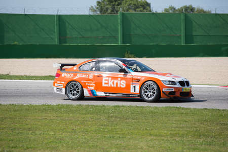 rt: MISANO ADRIATICO, Rimini, ITALY - May 10:  A BMW M3 GT4 of RT Holland Ekris MS team, driven By VAN ORANJE Bernhard (NED) and VAN DER ENDE Ricardo (NED),  the GT4 European Series car racing on May 10, 2014 in Misano Adriatico, Rimini, Italy.