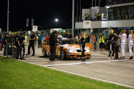 ende: MISANO ADRIATICO, Rimini, ITALY - May 10:  A BMW M3 GT4 of RT Holland Ekris MS team, driven By VAN ORANJE Bernhard (NED) and VAN DER ENDE Ricardo (NED),  the GT4 European Series car racing on May 10, 2014 in Misano Adriatico, Rimini, Italy.