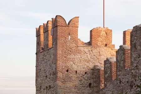 crenelation: defensive wall, castle of Marostica, Italy