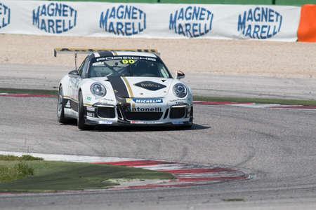 adriatico: MISANO ADRIATICO, Rimini, ITALY - May 10:  A Porsche 911 GT3 Cup of Antonelli Motorsport team, driven By  RODA Davide (ITA), the  Porsche Carrera Cup car racing on May 10, 2014 in Misano Adriatico, Rimini, Italy.