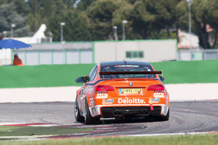 knap: MISANO ADRIATICO, Rimini, ITALY - May 10:  A BMW M3 GT4 PRO of RT Holland Ekris MS tam, driven By KNAP Simon (NED) and VAN ORANJE Pieter Christiaan (NED), the GT4 European Series car racing on May 10, 2014 in Misano Adriatico, Rimini, Italy.