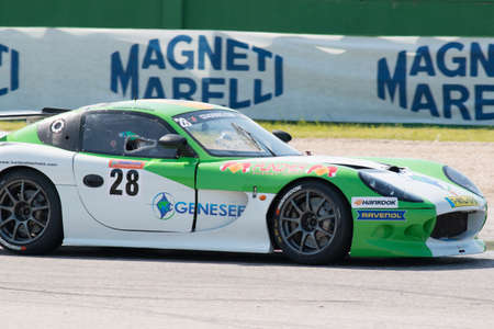 adriatico: MISANO ADRIATICO, Rimini, ITALY - May 10:  A Ginetta G50 PRO, of Genesee Reflex Racing  team, driven By BACHETA Luciano (GBR) and VIVIAN Marcos (ESP), the GT4 European Series car racing on May 10, 2014 in Misano Adriatico, Rimini, Italy. Editorial
