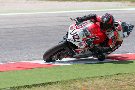 goi: MISANO ADRIATICO, ITALY - JUNE 21: Ducati 1199 Panigale R EVO of BARNI Racing Team, driven by GOI Ivan in action during the Superbike Free Practice 4th Session during the FIM Superbike World Championship - Race at Misano World Circuit on June 21, 2014 in