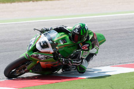 superbike: MISANO ADRIATICO, ITALY - JUNE 21: Kawasaki ZX-10R EVO of MAHI Racing Team India, driven by FORET Fabien in action during the Superbike Free Practice 4th Session during the FIM Superbike World Championship - Race at Misano World Circuit on June 21, 2014 i