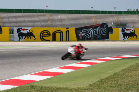 MISANO ADRIATICO, ITALY - JUNE 21: Ducati 1199 Panigale R EVO of BARNI Racing Team, driven by GOI Ivan in action during the Superbike Free Practice 3th Session during the FIM Superbike World Championship - Race at Misano World Circuit on June 21, 2014 in  Editorial
