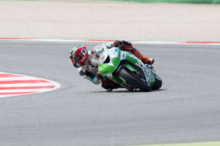 adriatico: MISANO ADRIATICO, ITALY - JUNE 21: Kawasaki ZX-6R of Kawasaki Intermoto Ponyexpres Team, driven by COVEÃ'A Tony  in action during the Supersport Free Practice 3th Session during the FIM SUPERSPORT World Championship - Race at Misano World Circuit on June
