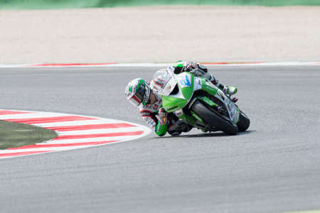 adriatico: MISANO ADRIATICO, ITALY - JUNE 21: Kawasaki ZX-6R of Kawasaki Intermoto Ponyexpres Team, driven by MARINO Florian in action during the Supersport Free Practice 3th Session during the FIM SUPERSPORT World Championship - Race at Misano World Circuit on June