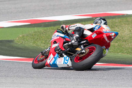 adriatico: MISANO ADRIATICO, ITALY - JUNE 21: Yamaha YZF R6 of RS Wahr by Kraus Racing Team, driven by WAHR Kevin in action during the Supersport Free Practice 3th Session during the FIM SUPERSPORT World Championship - Race at Misano World Circuit on June 21, 2014 i
