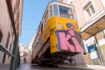 gloria: Lisbon, Portugal – August 5, 2014: Elevador da Gloria, the famous funicular connecting the Restauradores Square to the popular Bairro Alto District