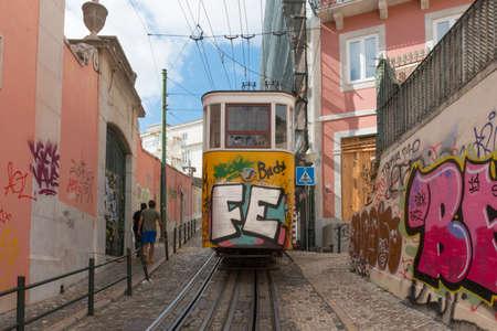 elevador: Lisbon, Portugal – August 7, 2014: Elevador da Gloria, the famous funicular connecting the Restauradores Square to the popular Bairro Alto District