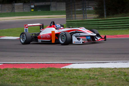 imola: Imola, Italy - October 11, 2014: Dallara F312 Mercedes R of Fortec Motorsport Team, driven by Santino Ferrucci (US) in action During The FIA ??Formula 3 European Championship - Race in Imola at Enzo & Dino Ferrari Circuit Editorial