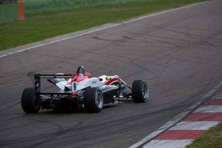 enzo: Imola, Italy - October 11, 2014: Dallara F312 Mercedes of Fortec Motorsport Team, driven by Cao Hongwei (Chn) in action During The FIA ??Formula 3 European Championship - Race in Imola at Enzo & Dino Ferrari Circuit