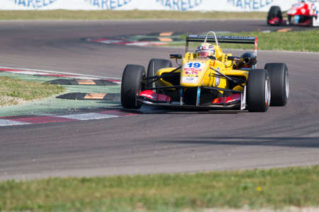carlin: Imola, Italy - October 11, 2014: Dallara F312 Volkswagen of Jagonya Ayam with Carlin Team, driven by Anthony Giovinazzo (Ita) in action During The FIA ??Formula 3 European Championship - Race in Imola at Enzo & Dino Ferrari Circuit Editorial