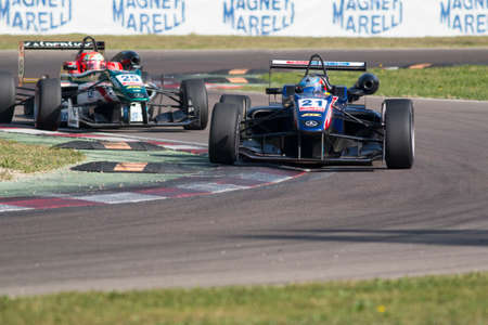 tec: Imola, Italy - October 11, 2014: Dallara F312 Mercedes of Team West-Tec, driven by Felix Serralles (Pri) in action During The FIA ??Formula 3 European Championship