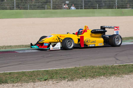 enzo: Imola, Italy - October 11, 2014: Dallara F312 Mercedes of Jo Zeller Racing Team, driven by Tatiana Calderon (Col) in action During The FIA ??Formula 3 European Championship - Race in Imola at Enzo & Dino Ferrari Circuit Editorial