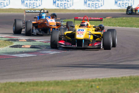 carlin: Imola, Italy - October 11, 2014: Dallara F312 Volkswagen of Jagonya Ayam with Carlin Team, driven by Sean Gelael (Idn) in action During The FIA ??Formula 3 European Championship - Race in Imola at Enzo & Dino Ferrari Circuit Editorial