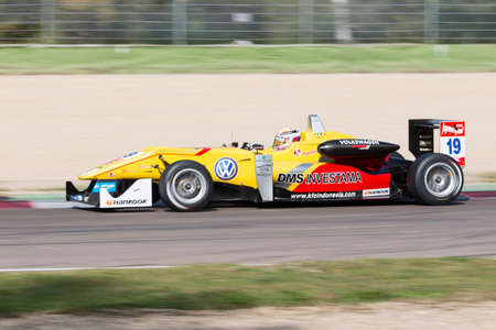 enzo: Imola, Italy - October 11, 2014: Dallara F312 Volkswagen of Jagonya Ayam with Carlin Team, driven by Anthony Giovinazzo (Ita) in action During The FIA ??Formula 3 European Championship - Race in Imola at Enzo & Dino Ferrari Circuit Editorial