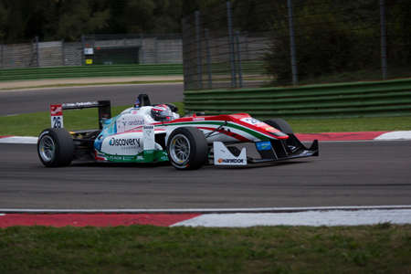 enzo: Imola, Italy - October 11, 2014: Dallara F312 – Mercedes of Prema Powerteam Team, driven by Van De Laar Dennis (Nld) in action during the Fia Formula 3 European Championship - Race in Imola at Enzo & Dino Ferrari Circuit on October 11, 2014 in Imola, It