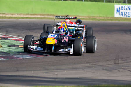 enzo: Imola, Italy - October 11, 2014: Dallara F312 VolkswagenR of Van Amersfoort Racing Team, driven by Max Verstappen (NLD) in action During The FIA ??Formula 3 European Championship - Race in Imola at Enzo & Dino Ferrari Circuit Editorial